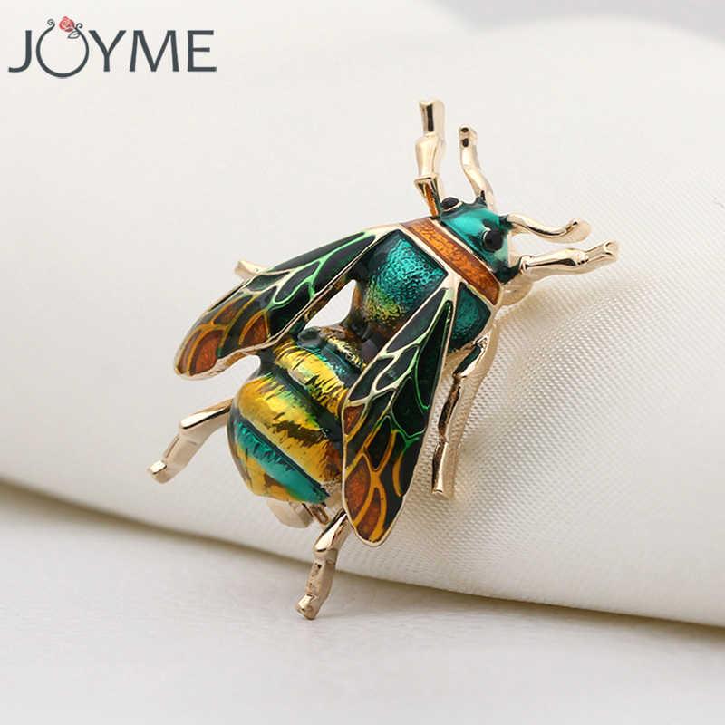 Lucu Serangga Lebah Bros untuk Anak-anak Gadis Wanita Ulang Tahun Natal Hadiah Emas Warna Kuning Hijau Enamel Bros Perhiasan