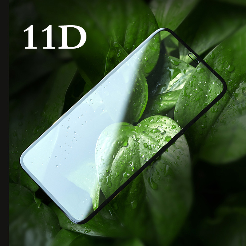 Hel täckning 11D härdat glasfilm för iPhone 7 8 7plus X XR XS MAX med 9H Anti-Blue Light Round Curved Edge Screen Protector