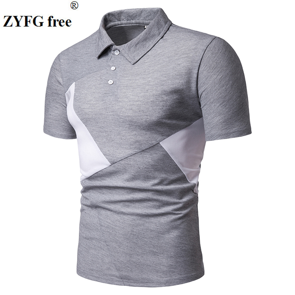 Image 2 - ZYFG free men polo casual splice contrast color short sleeved polo shirt Slim fashion spring and summer male clothing-in Polo from Men's Clothing