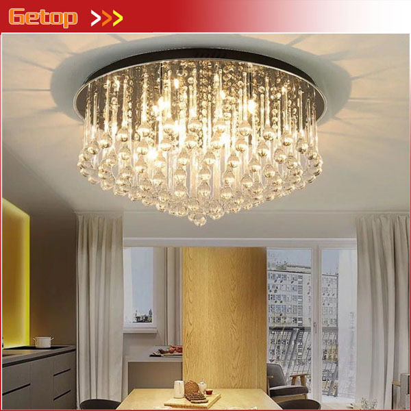 Modern Luxury K9 Crystal LED Chandelier Round Shape Ceiling Lamp for Living Room Bedroom Restaurant Study Black Base Free Ship modern crystal lamp round shape led pendant light for bedroom living room lighting