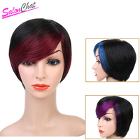 SalonChat Short Straight Human Hair Wigs Women's Omber Style Full Head Wig Non Remy Hair Brazilian Human Wigs Black Color