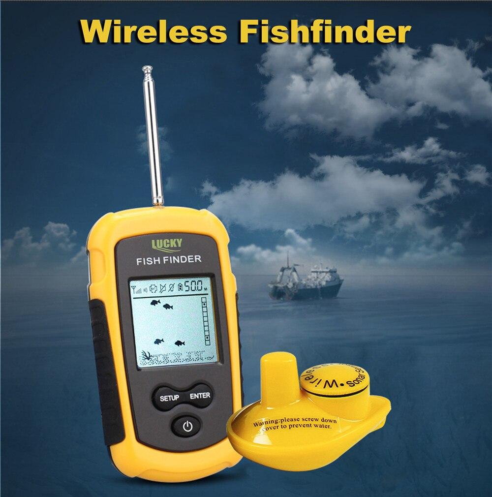 Lucky FFW1108-1 Portable 100m Wireless Fish Finder Alarm 40M/130FT Sonar echo sounder