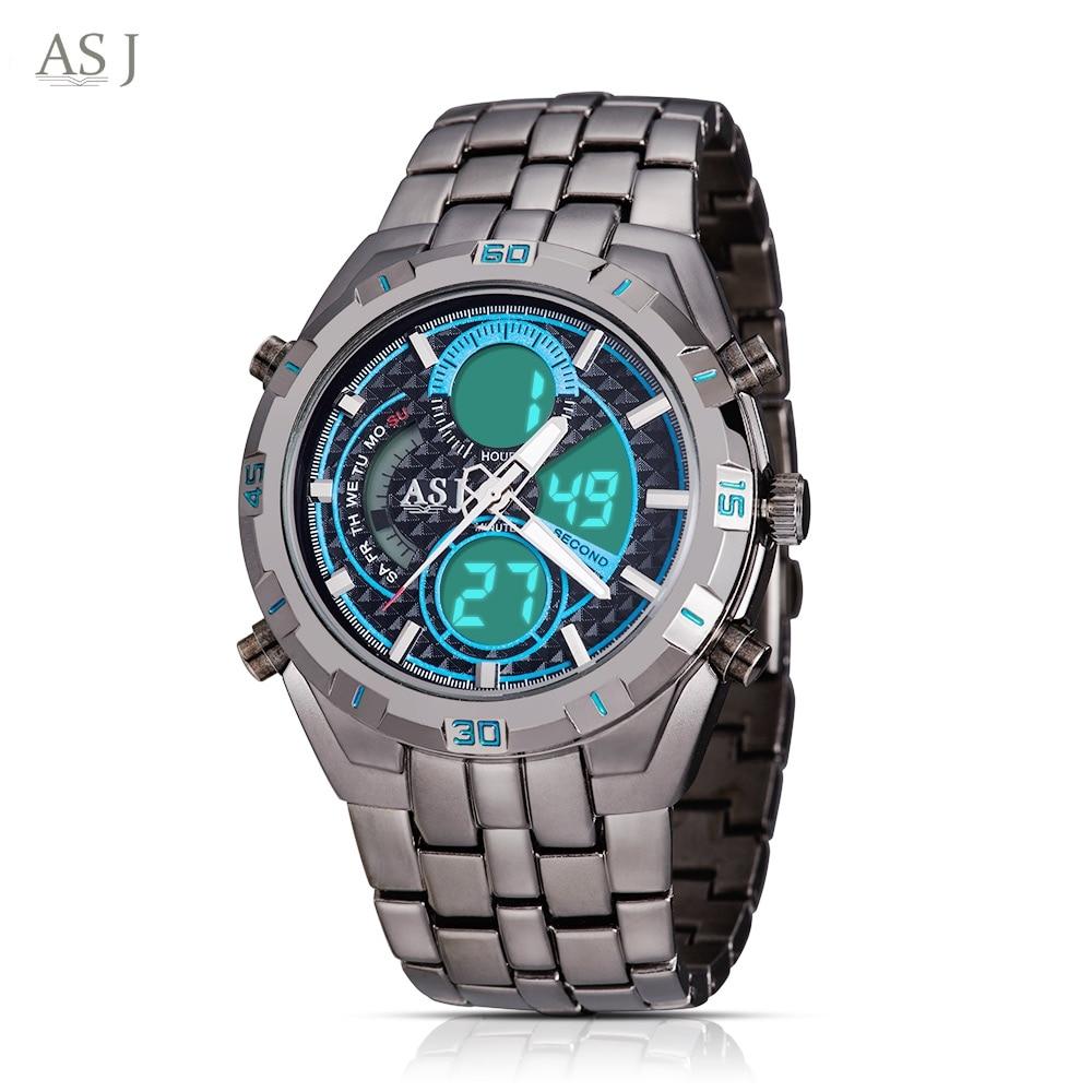 ASJ B897 Men Sport Watch Steel Stainless Dual Movt Military Watches Waterproof Army Wristwatch men dual movt watch