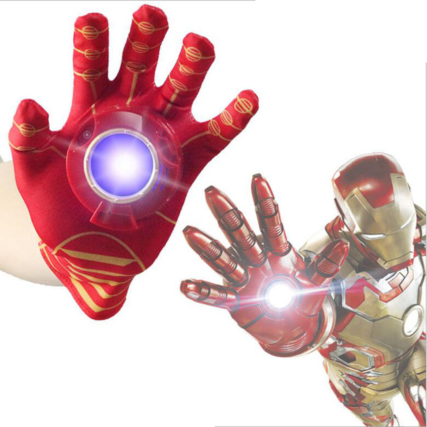 Iron man Cosplay Avengers Toy Action Figure Toys Cartoon Interesting Iron Man Glove Emitter Flash Sound For Children Gifts