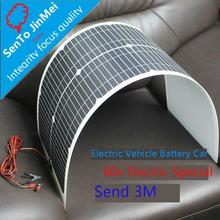 Single crystal semi-flexible solar panel 72V45W straight into 60V battery 3 meters long alligator clip line to send glue