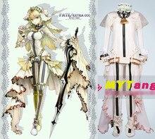 Anime Fate/EXTRA CCC Saber Bride Cosplay Costume Sexy Bodysuit Wedding Full set Halloween Costume Custom Made