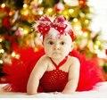 Рождество Красный персик румяна Детские Платья младенческой Toddle Девочка платье для свадьбы День Рождения Photogragh PT39