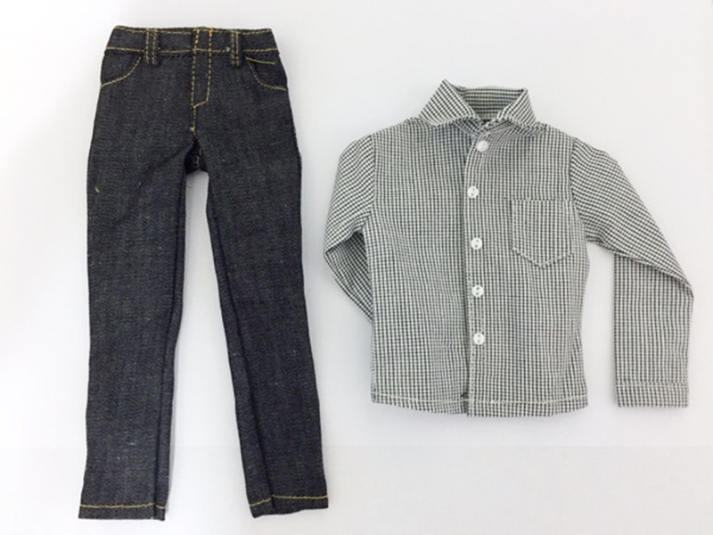 1/6 Light Grey Plaid Shirt with Pants1/6 Light Grey Plaid Shirt with Pants