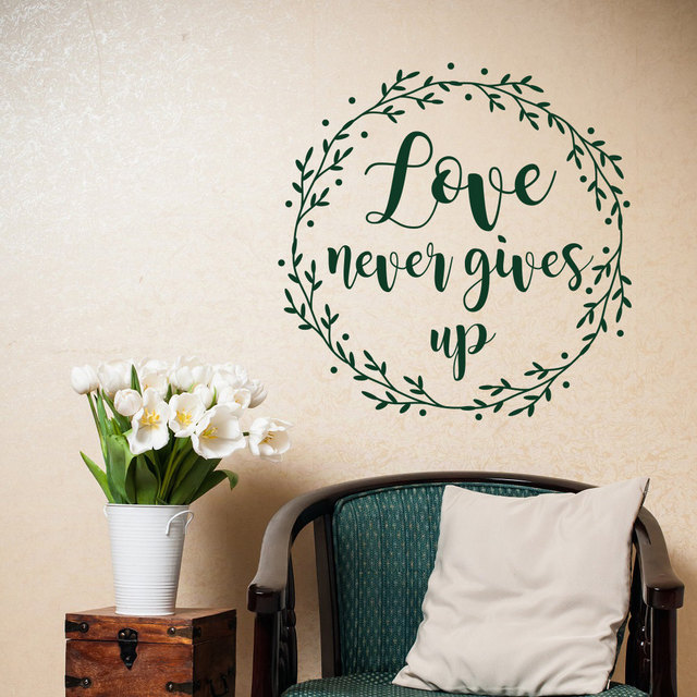 Hot Selling Scripture Christian Wall Decals Love Never Gives Up Adhesive  Vinyl Home Decor Bible Verse
