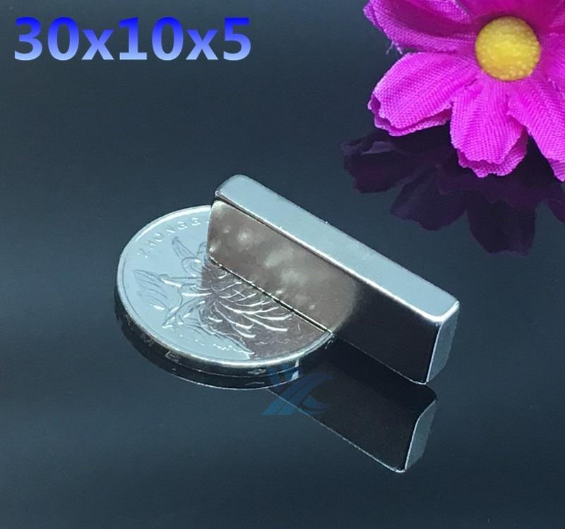 100pcs 30mm x 10mm x 5mm Block Cuboid Fridge Magnets 30 10 5 Rare Earth Neodymium