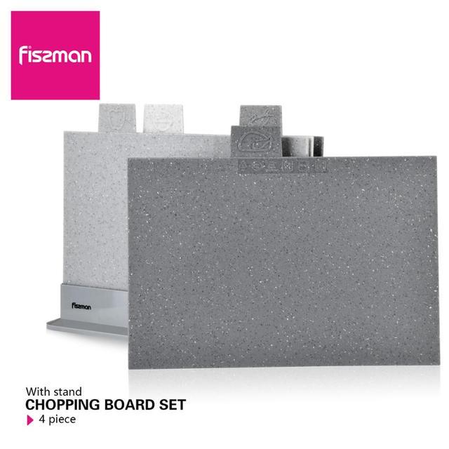 Fissman Anti Bacterium Plastic Chopping Block Non slip Marble Coating Plastic Mats Cutting Board with Stand 4pcs Sets