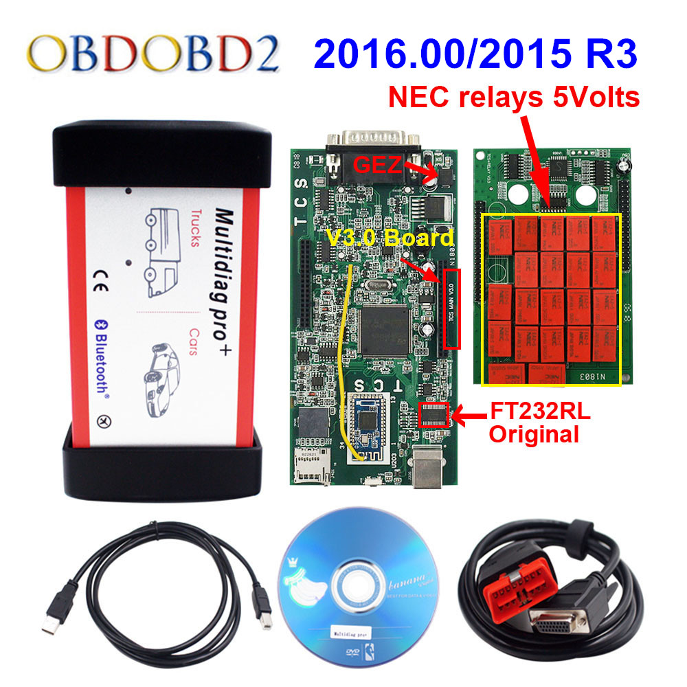 Профессиональный мультидиагностический Bluetooth 2016,00/2015. R3 Бесплатная Keygen V3.0 NEC 9241A двойная зеленая PCB CDP TCS Pro OBD2 грузовик автомобиля диагностиче...