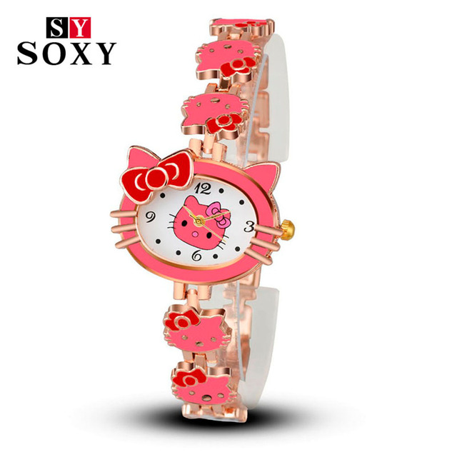 2018 New Brand Hello Kitty Cartoon Watches Women Children Dress Quartz Wristwatch Kids Hellokitty Watches Girls Montre Enfant