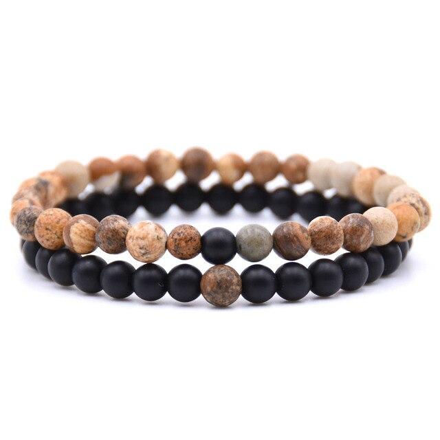 2pcs/set Natural Stone Mixing beads Bracelet men  5