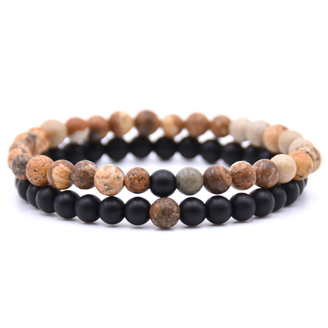 HONEYYIYI 2pcs/set Natural Stone Mixing beads Bracelet men Bracelets & Bangles Jewelry men gifts pulseras