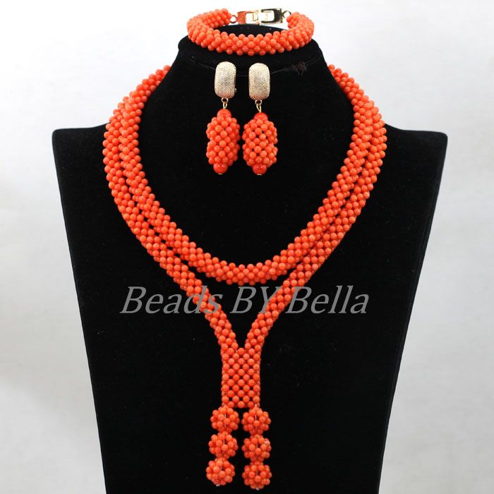2017 New Design Handmade Coral Beads Statement Necklace Set ...
