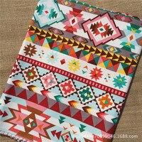 Bohemia Colorful Cotton Slub Cotton Cloth Sofa Geometric Thickened Pillow Hand Background Curtain Fabric
