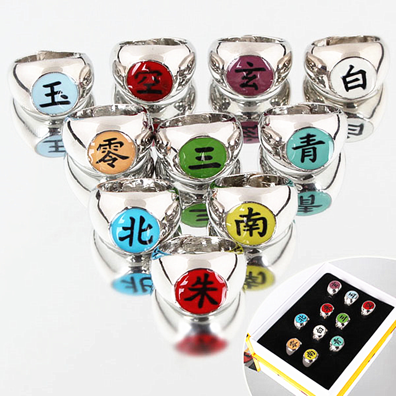 10pcs/set Naruto Akatsuki Alloy Ring Set Pein Uchiha