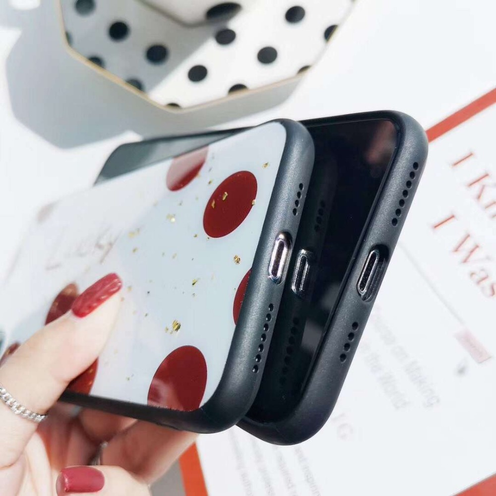 Cqqdoq Love Heart Protective Phone Case For iPhone 6 6S 7 8 Plus Red Letter Polka Dot Sequin Cases For iPhone X XR XS MAX Fundas