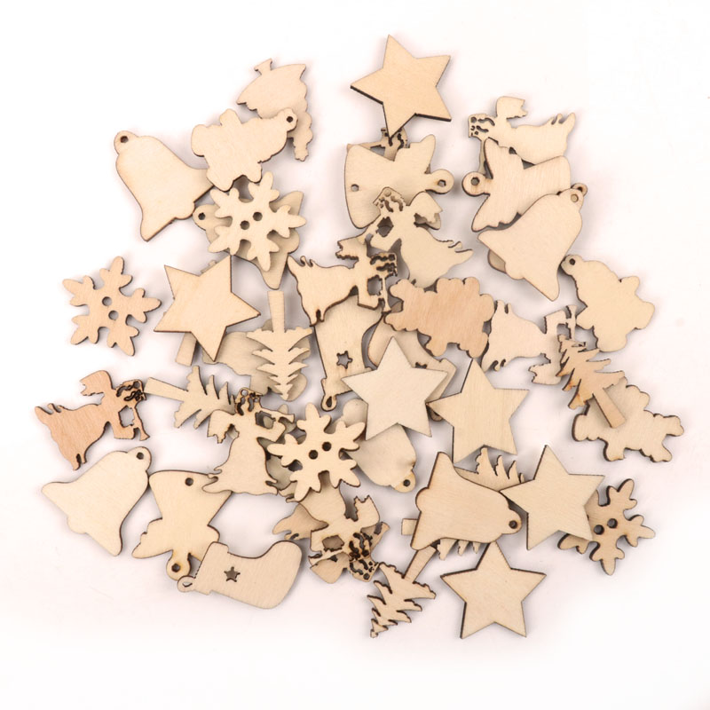 Handmade Wooden Crafts Accessories Home Decoration Scrapbookings Children Painting DIY Mix Christmas Series Ornaments 30mm 20pcs
