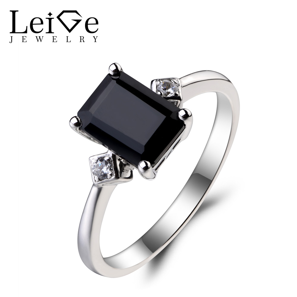 Leige Jewelry Promise Ring Natural Black Spinel Ring Black Gems Emerald Cut Gemstone Solid 925 Sterling Silver Ring for Women цена
