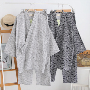 Image 2 - Traditional Men Japanese Pajamas Sets 100% Cotton Simple Kimono Yukata Nightgown Sleepwear Bathrobe Leisure Wear Lover Homewear