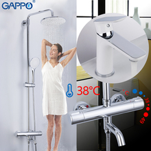 GAPPO Shower Faucets chrome white bathroom thermostatic waterfall faucet mixer bath shower head set basin mixer shower system