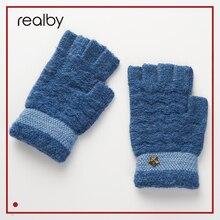 Realby, зимние мужские модные перчатки без пальцев, зимние теплые вязаные перчатки на половину пальца, вязаные перчатки со звездным узором, B6258