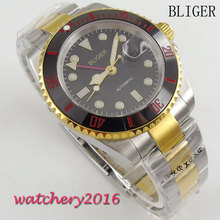 лучшая цена 40mm Bliger sterile Dial ceramic Bezel Deployment Sapphire Glass Luminous Marks Date Window GMT Automatic Mechancial Mens Watch