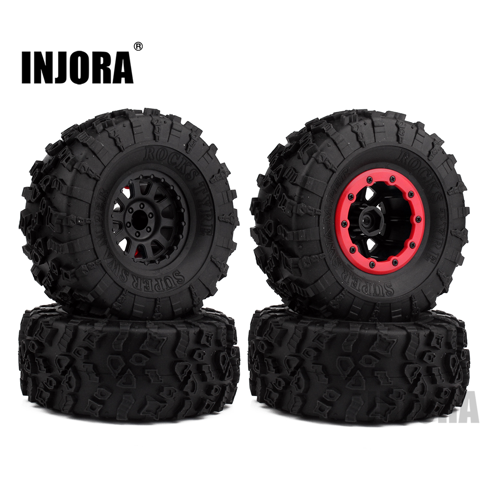 4PCS 2.2 Rubber Tires & 2.2 Plastic Beadlock Wheel Rim for 1:10 Axial SCX10 Wraith RR10 Yeti RC Rock Crawler 4pcs 1 9 rubber tires