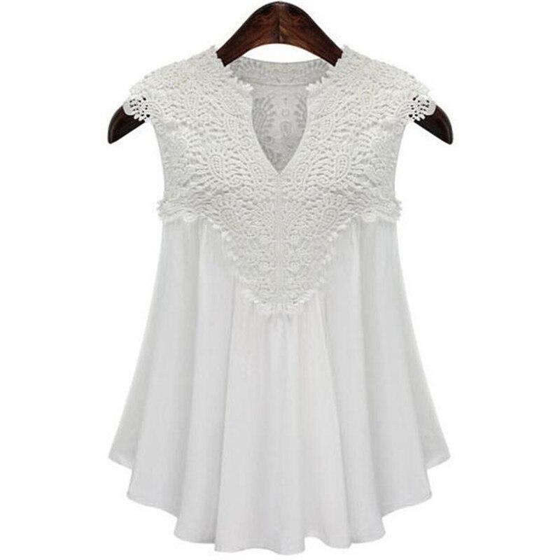 Letní halenky dámské košile dámské plus velikost bez rukávů s výstřihem do V-krku skládaná šifonová košile dámská ležérní halenka nahoře