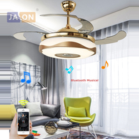 LED Modern Alloy Acryl ABS Bluetooth Musical Ceiling Fan.LED Lamp.LED Light.Ceiling Lights.LED Ceiling Light.For Foyer Bedroom
