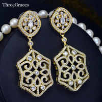 Vintage Woman Yellow Gold Plated Luxury Bridal Long Big Dangle Earrings With Sparkling White CZ Diamond