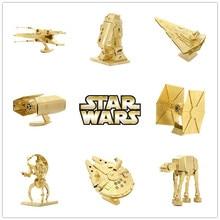 Miniature Golden Star Wars 3D Metal Puzzle Scale Model R2D2 ATAT X wing Darth Vaders Tie