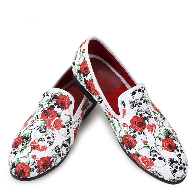 b5cef1584424 Men loafer Shoes Style roses with skull print Smoking Slipper Men casual  shoes