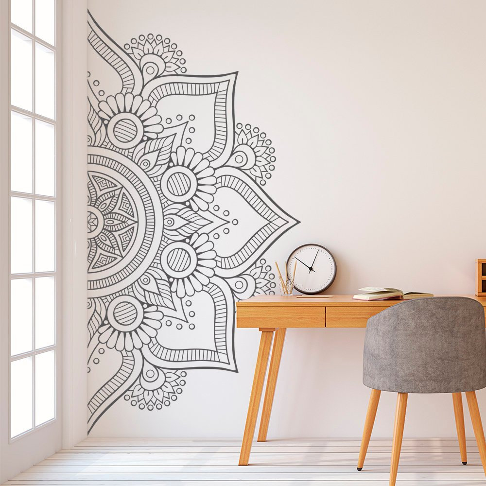 US $7.73 35% OFF|Hot Half Mandala Flower Vinyl Wall Decals Master Bedroom  Headboard Decoration Interior Removable Bohemian Mandala Art MuralZW253-in  ...