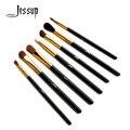 Jessup cepillos set ojos sombra de mezcla básica ángulo eyeliner ahumado floración pincel de maquillaje negro/oro 7 pcsset