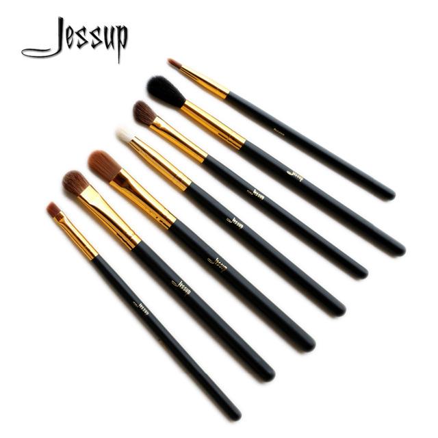 Jessup pincéis básicos olho conjunto de mistura sombra angled eyeliner fumado bloom maquiagem pincel preto/ouro 7 pcsset