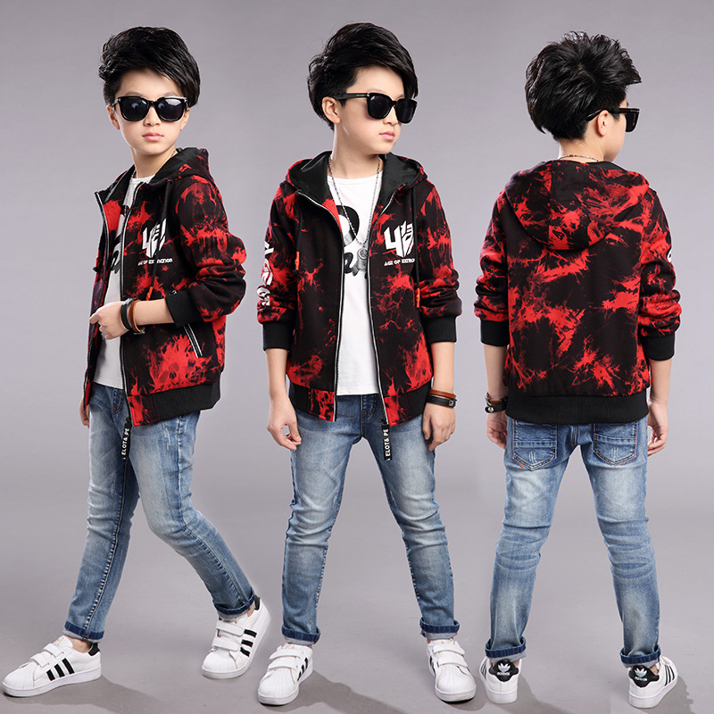 ФОТО Kids boys spring / autumn jacket 2017 new baby boys tie-dye clothing fashion hooded coat big virgin 4/5/6/7/8/9/10/11/12/13/14