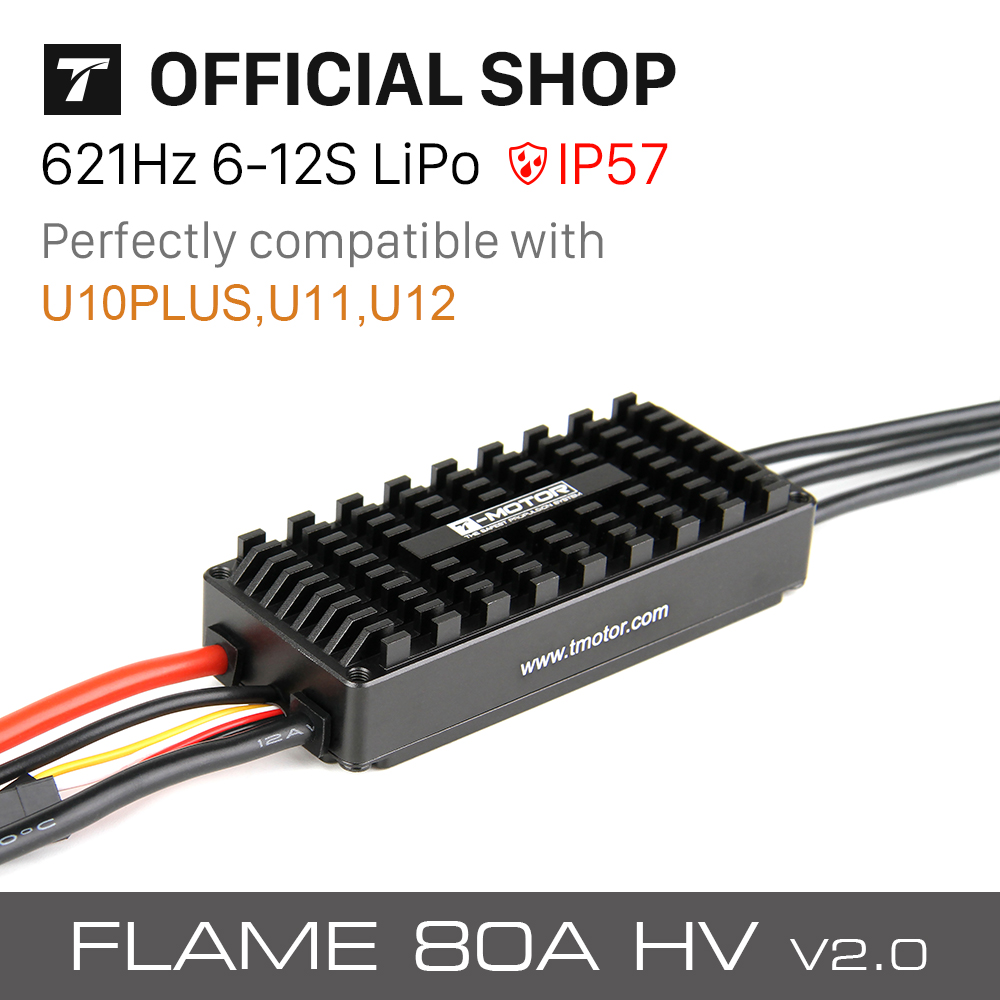 T-MOTOR FLAME 80A <font><b>HV</b></font> <font><b>ESC</b></font> 6-12s waterproof <font><b>ESC</b></font> IP54 for commercial UAV drone image