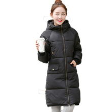 Новый 2016 Мода Хлопок Пальто С Капюшоном Стройная Причинно-Следственная Зимняя Куртка женщины Плюс Размер Корейский Черный Пуховики Долго Армии Parka Mujer