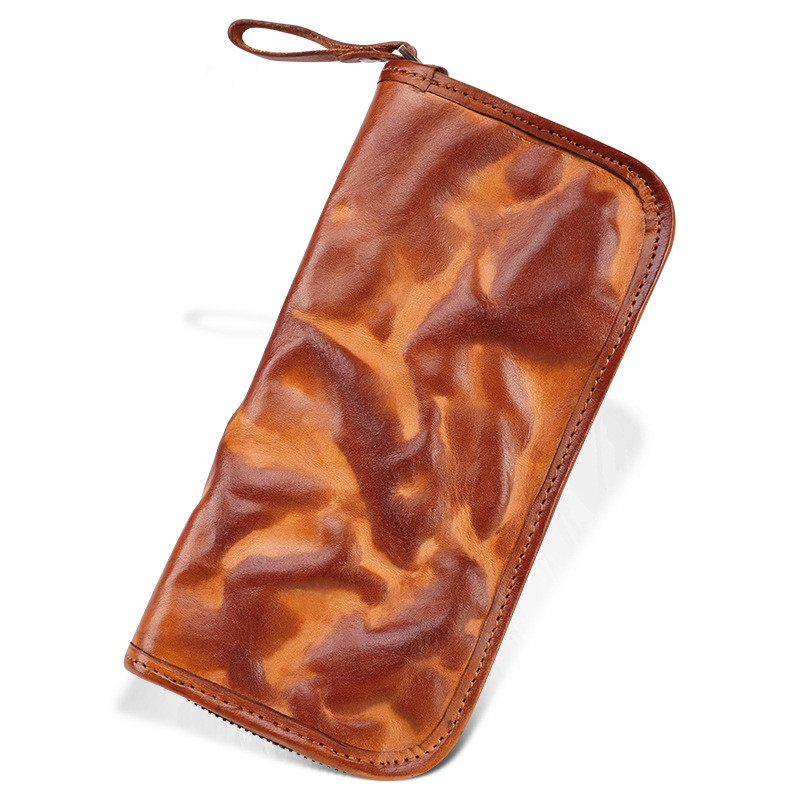 Business Men Genuine Leather Bag Long Wallet Card Money Holder Clutch Purse Vegetable Tanned Leather Wallets Phone Pocket brand handmade genuine vegetable tanned leather cowhide men wowen long wallet wallets purse card holder clutch bag coin pocket page 4