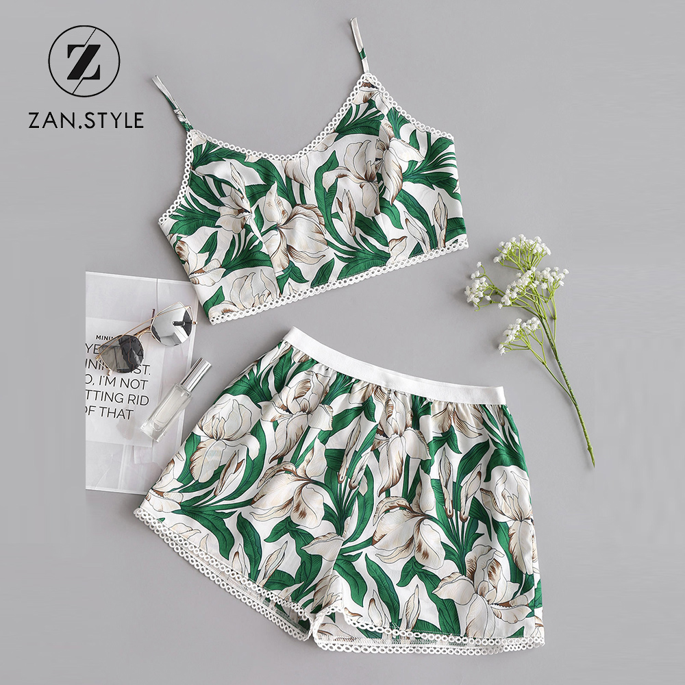ZAN.STYLE Women Floral Two Pieces Set Spaghetti Straps V-Neck Cropped Top Elastic Waist Shorts Sets Casual 2018 Summer Beach Set