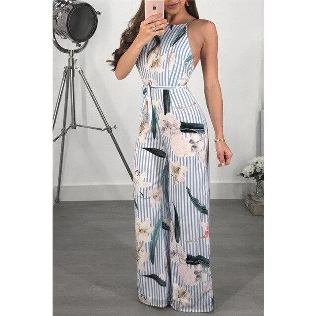 6add93e9595 2018 Women s Sleeveless Striped Jumpsuit Casual Loose Trousers Fashionable  Leotard Catsuit Combinaison Wide Leg Pants W336