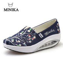 2017 Minika Swing Casual Canvas Breathable Ladies Trainers Wedges Chaussure Femme Sport Platform Shoes For Women Zapatos Mujer стоимость