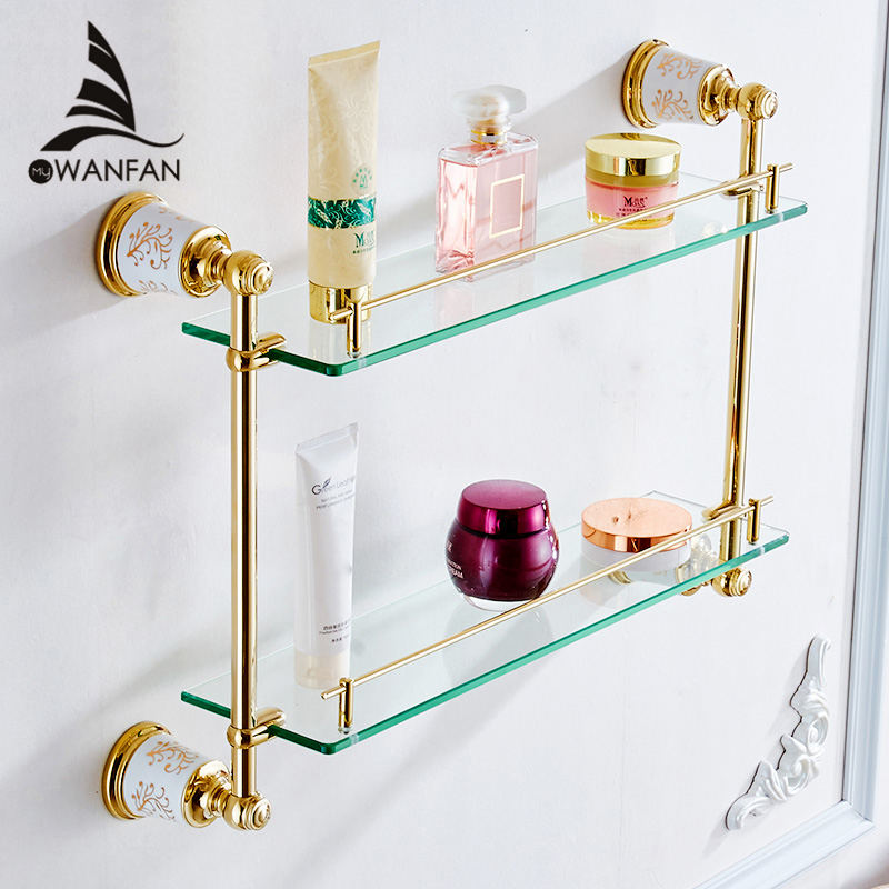 Bathroom Shelves Brass Double Layer Glass Wall Storage Shelf Cosmetic Holder Shower Stand Bathroom Accessories Bath Rack 87312 factory outlet iron bathroom shelf storage rack shelves multilayer promotions