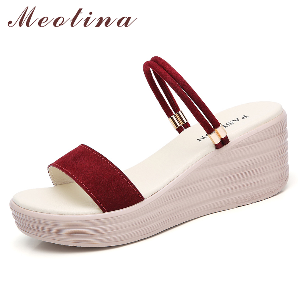 Meotina Party Sandals Slippers Platform Wedge Women Shoes Open-Toe High-Heel Ladies Red-Size