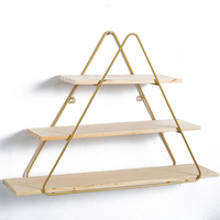 Nordic Gold Geometric Aircraft Rack Wall Shelf Creative Iron Shelves Wall Decoration Crafts Function Home Storage Organization