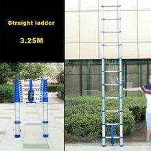 Новинка 3,25 метров 11 ступеней лестница JJS511 утолщенная алюминиевая легированная односторонняя Прямая Лестница портативная Бытовая раздвижная лестница