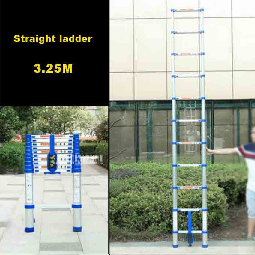 New 3.25 Meters 11 Steps Ladder JJS511 Thicken Aluminium Alloy Single-sided Straight Ladder Portable Household Extension Ladder